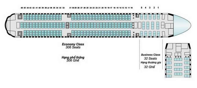 Салон 777-200 выполнен в стиле